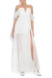 OMRA Cold-shoulder silk gown