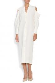 OMRA Athena cold-shoulder crepe dress