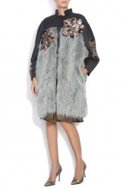 Simona Semen Embroidered faux fur-trimmed wool coat