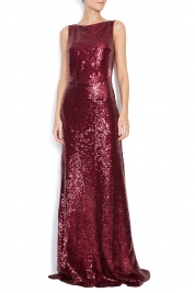 Bien Savvy Sequined stretch-cady gown