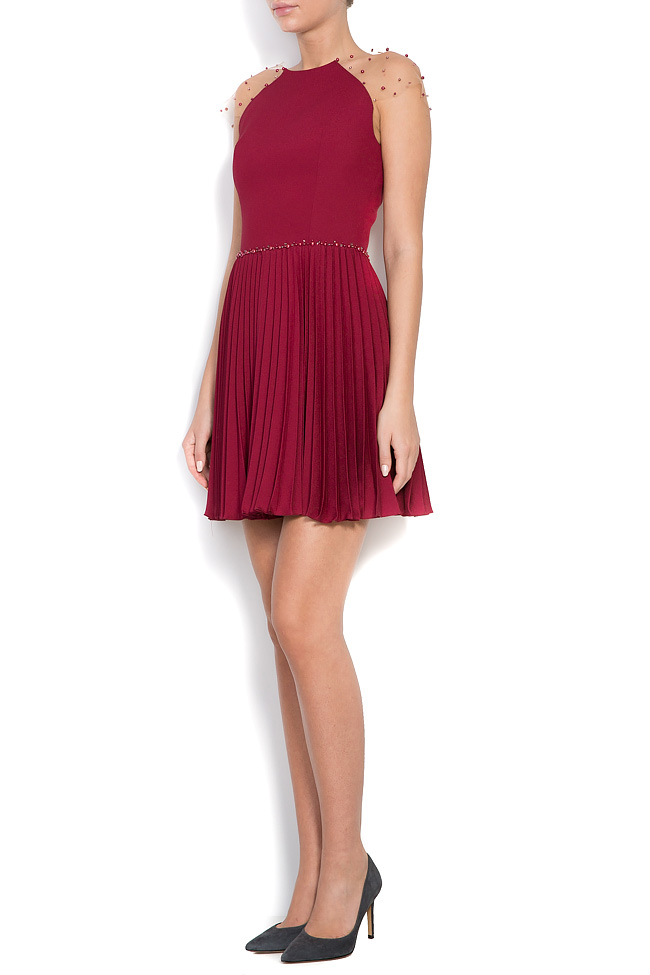 Embellished pleated silk mini dress M Marquise image 1