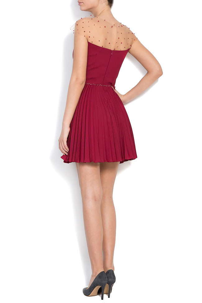 Embellished pleated silk mini dress M Marquise image 2