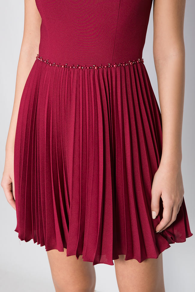 Embellished pleated silk mini dress M Marquise image 3