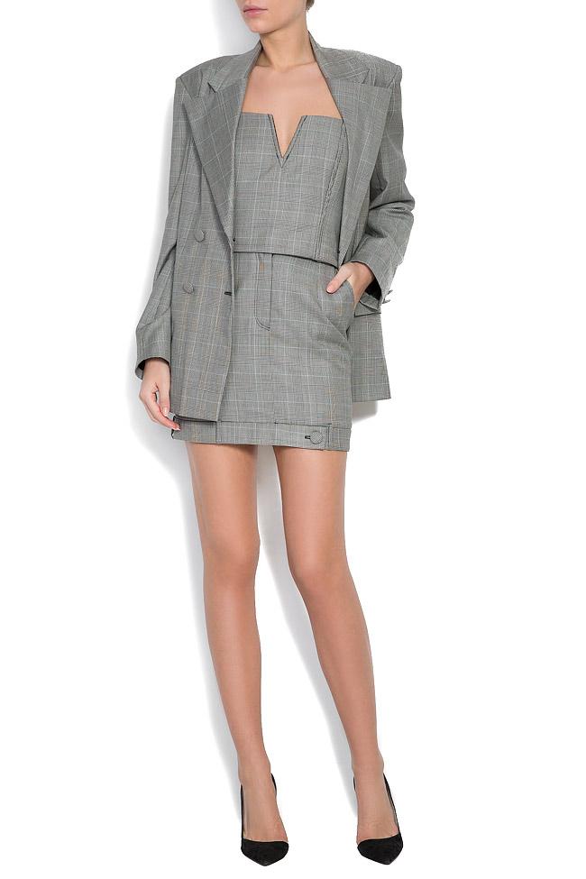 Checked wool tweed blazer OMRA image 4