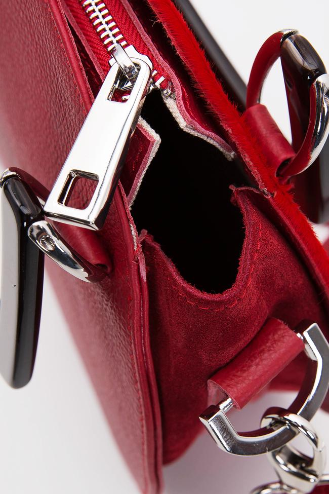 Ronda suede textured-leather and fur shoulder bag Giuka by Nicolaescu Georgiana  image 3