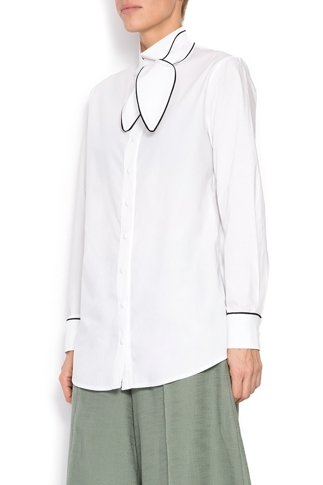 Pussy-bow cotton poplin shirt Framboise image 1