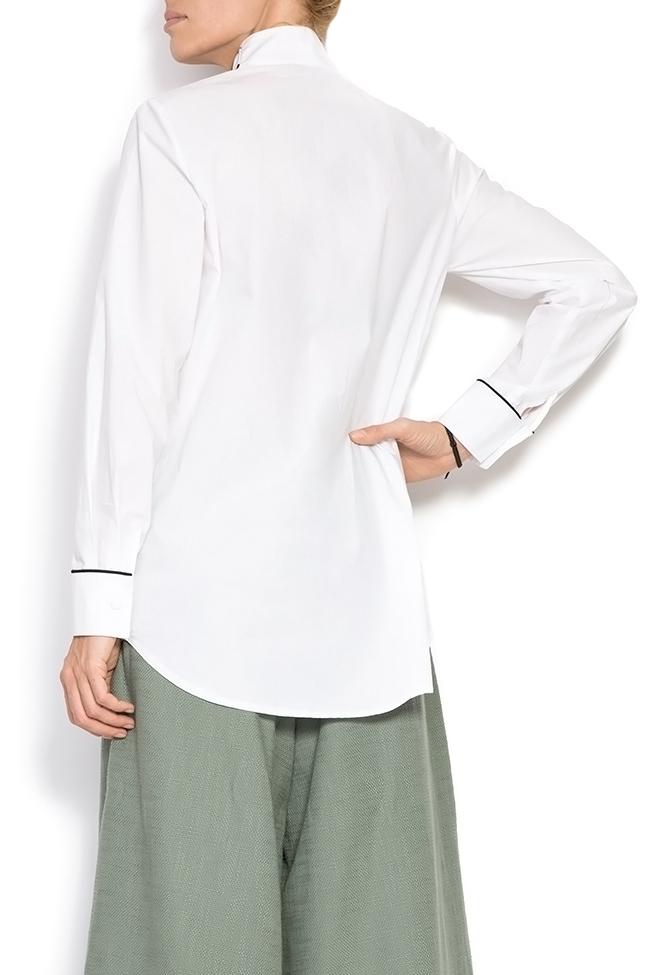 Pussy-bow cotton poplin shirt Framboise image 2