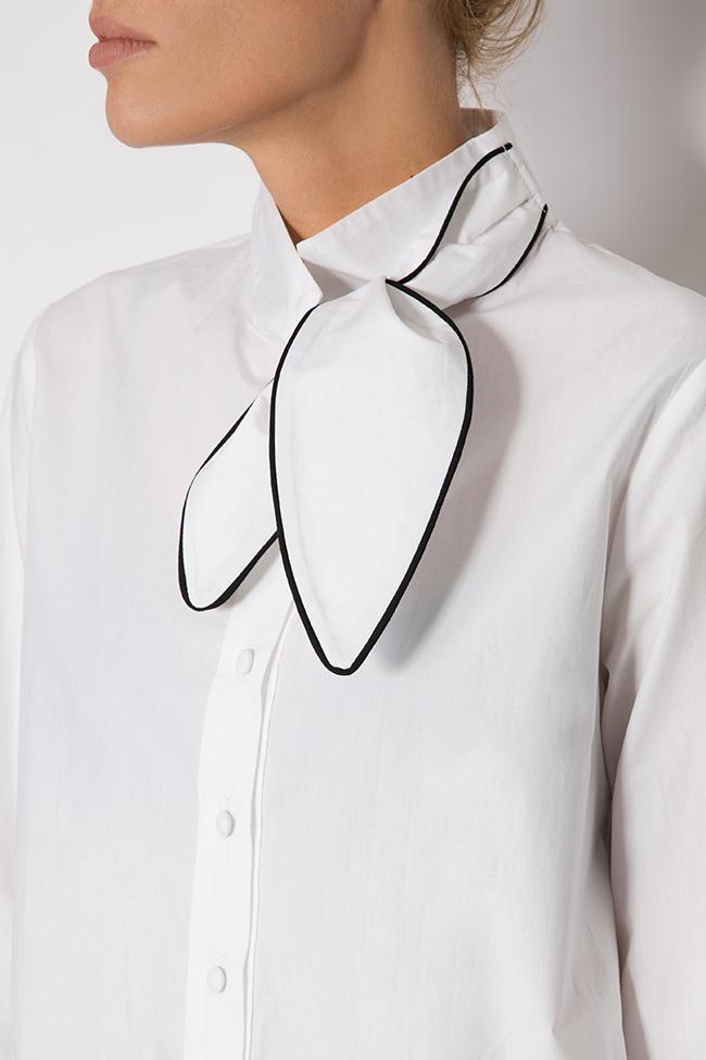 Pussy-bow cotton poplin shirt Framboise image 3