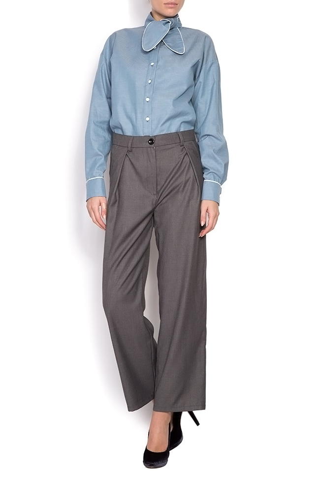 Misha pussy-bow cotton poplin shirt Framboise image 0