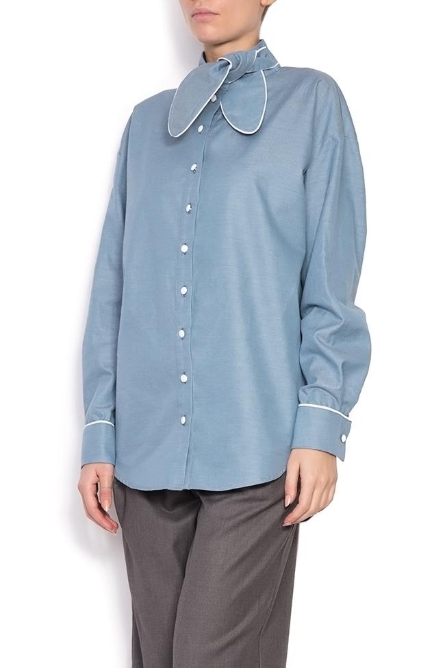 Misha pussy-bow cotton poplin shirt Framboise image 1