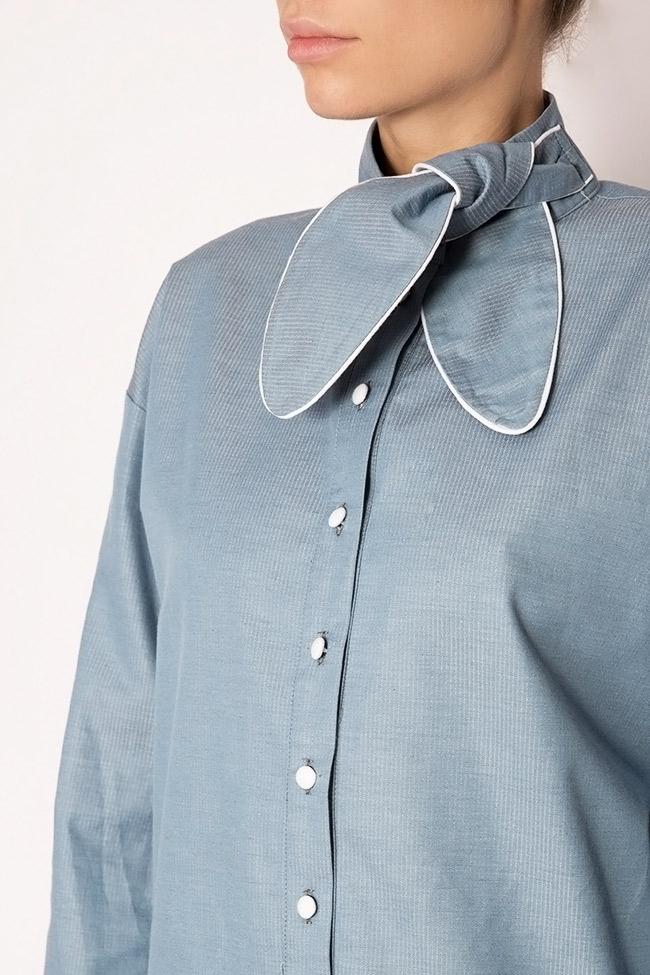Misha pussy-bow cotton poplin shirt Framboise image 3