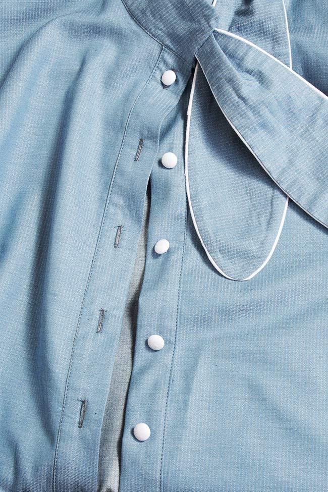 Misha pussy-bow cotton poplin shirt Framboise image 4