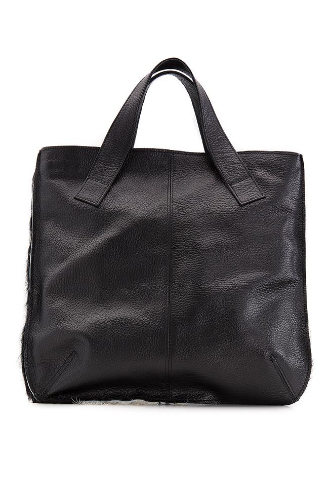 Two-tone fur and leather tote bag Giuka by Nicolaescu Georgiana  image 2