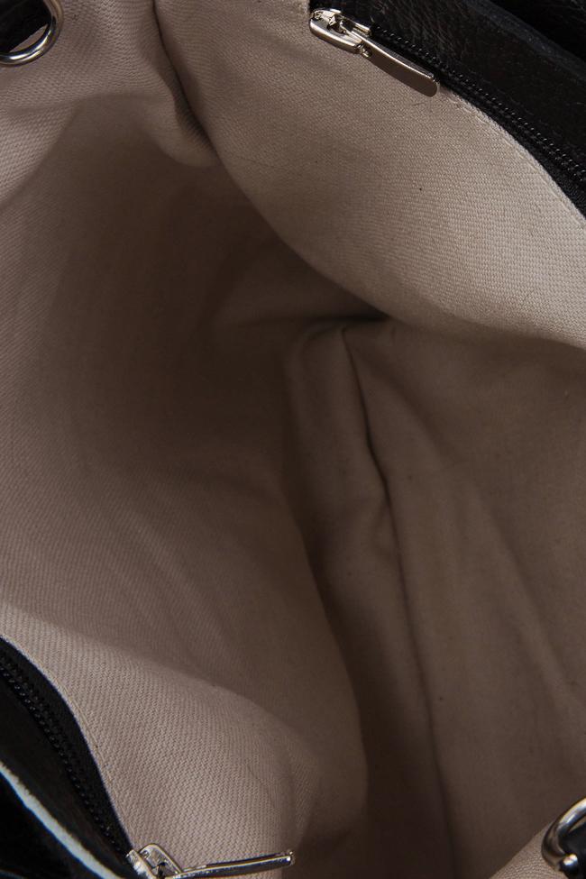 Two-tone fur and leather tote bag Giuka by Nicolaescu Georgiana  image 4