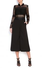 Anca si Silvia Negulescu Lace-paneled crepe jumpsuit