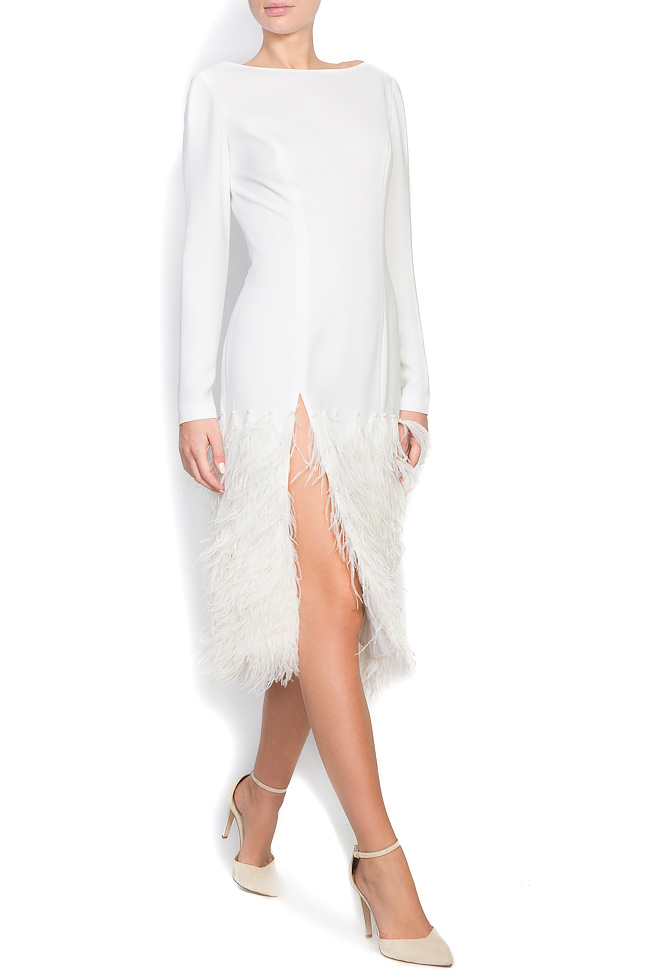 Feather trimmed crepe midi dress M Marquise image 1