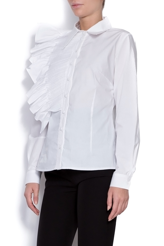 Lotus ruffled cotton shirt  Framboise image 1