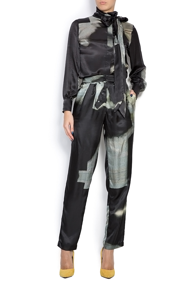 Black Trousers pants made of silk satin Framboise image 0