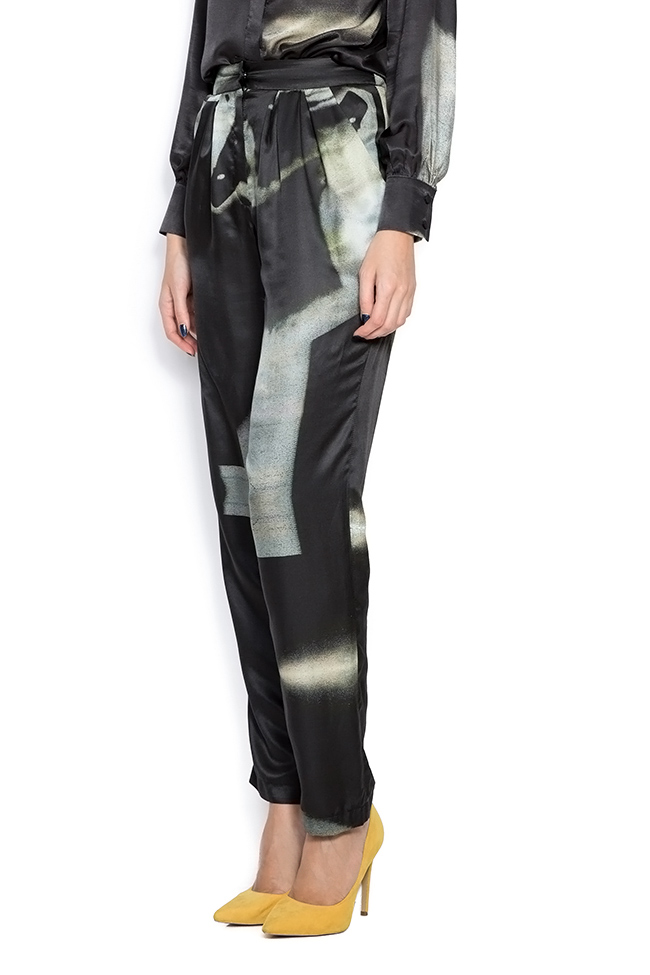 Black Trousers pants made of silk satin Framboise image 1