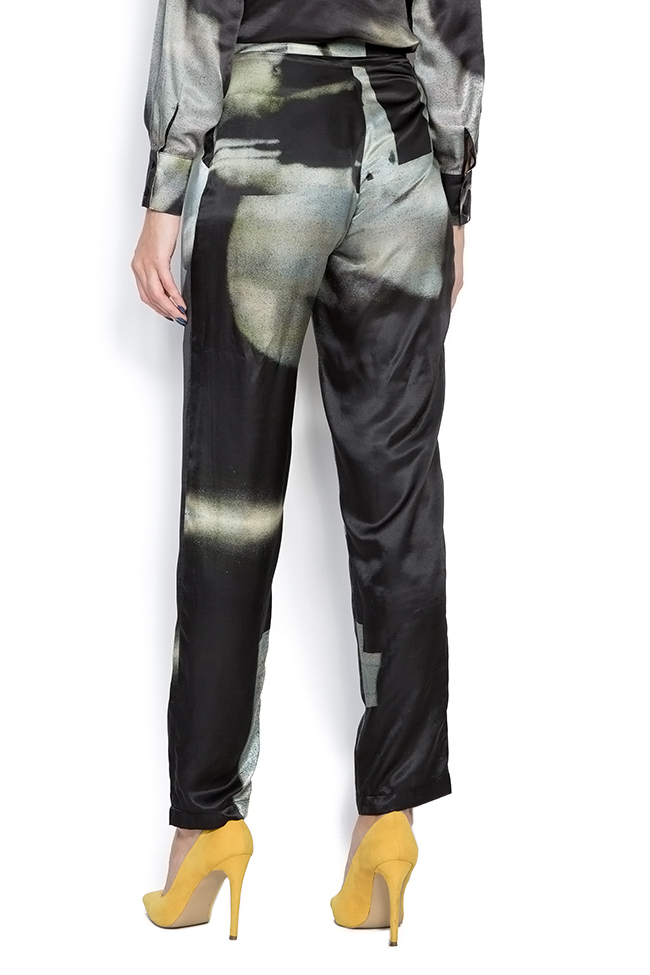 Black Trousers pants made of silk satin Framboise image 2