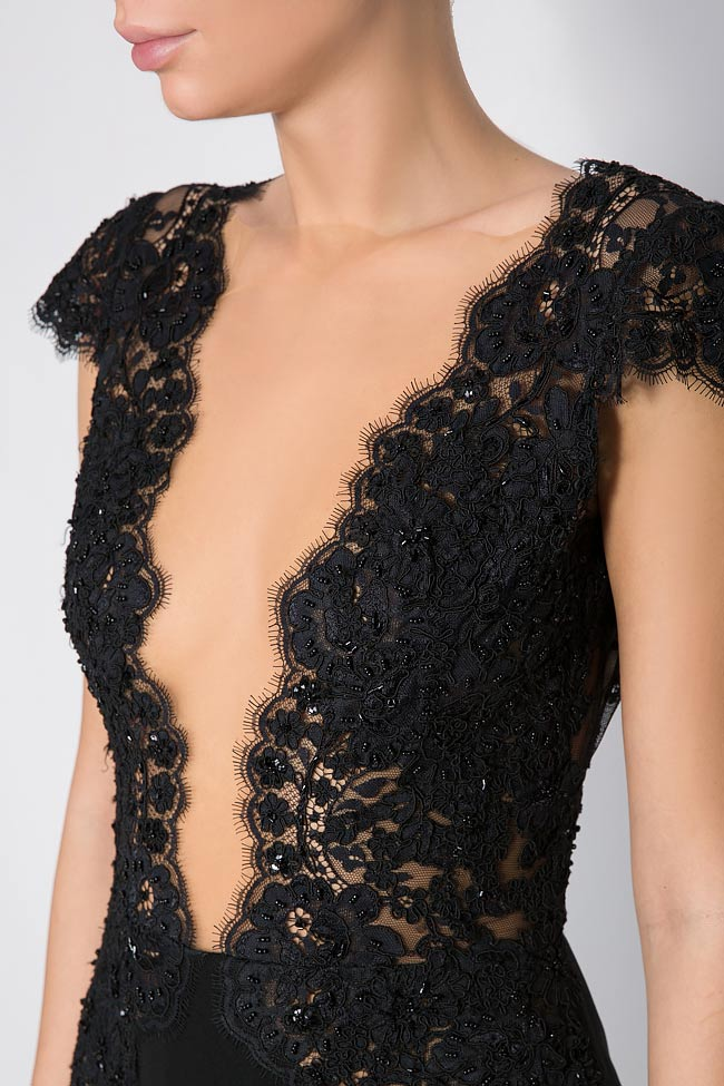 Embroidered crepe lace mini dress M Marquise image 3