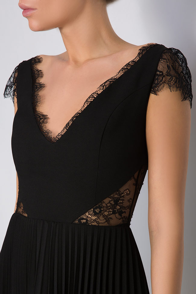Lace-paneled pleated crepe mini dress M Marquise image 3