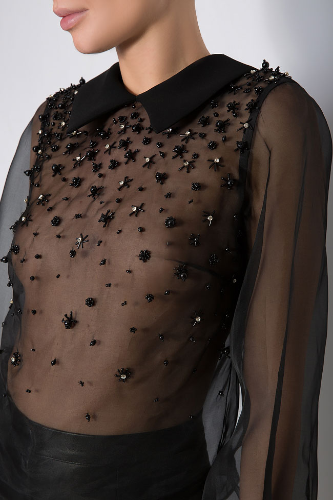 Embellished silk-organza top M Marquise image 3