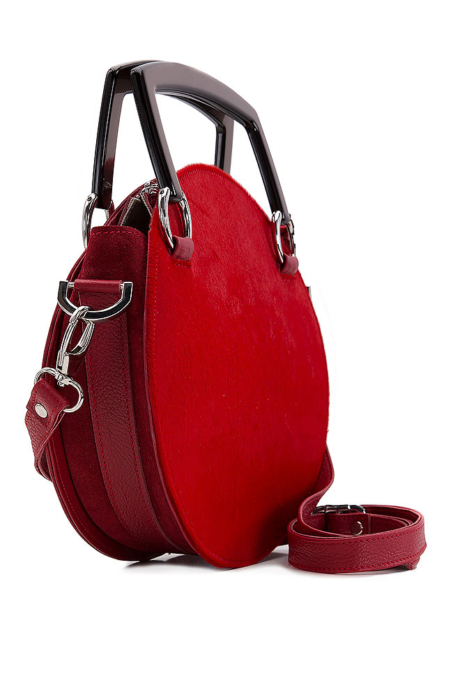 Ronda suede textured-leather and fur shoulder bag Giuka by Nicolaescu Georgiana  image 1