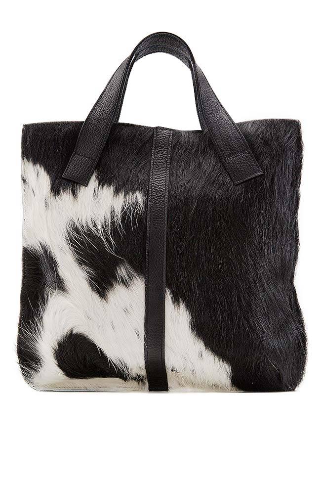 Two-tone fur and leather tote bag Giuka by Nicolaescu Georgiana  image 0
