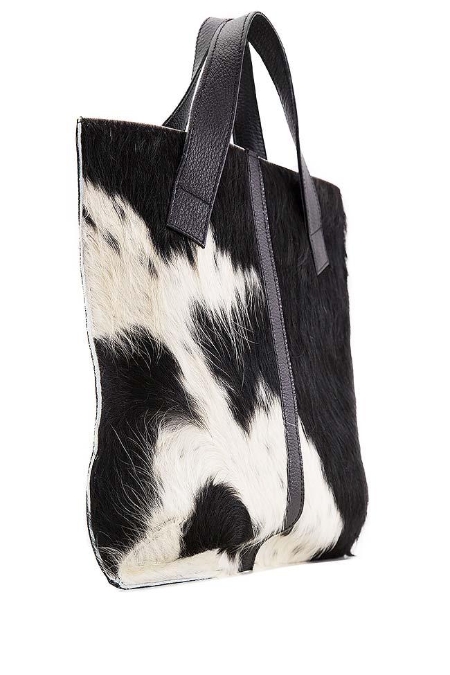 Two-tone fur and leather tote bag Giuka by Nicolaescu Georgiana  image 1