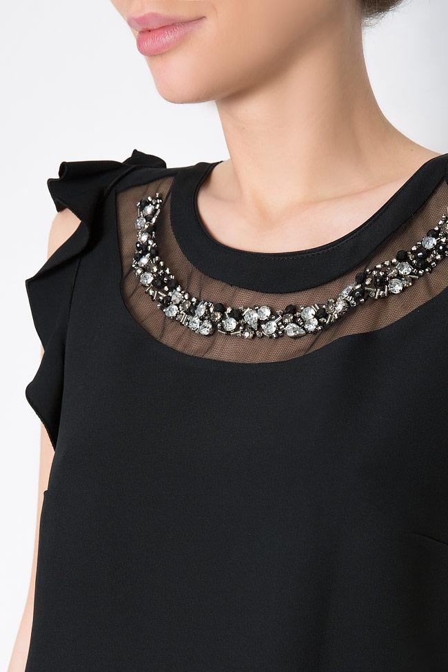Bluza din crep cu aplicatii din cristale brodate manual Lena Criveanu imagine 3