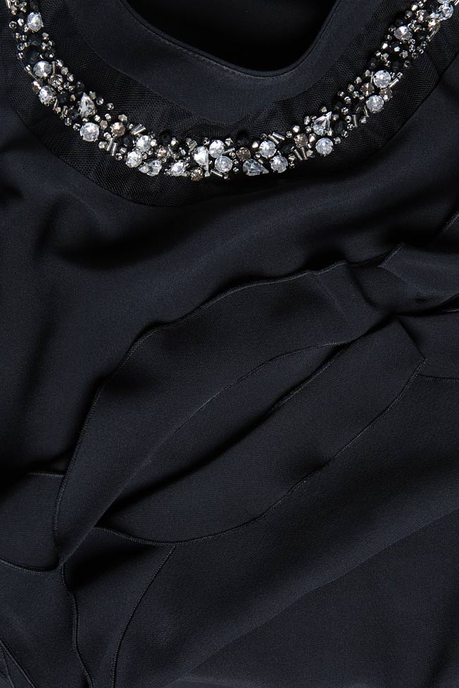 Bluza din crep cu aplicatii din cristale brodate manual Lena Criveanu imagine 4