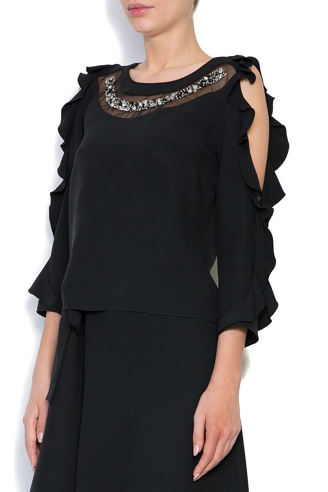 Bluza cu decupaje din crep si aplicatii brodate manual Lena Criveanu imagine 1