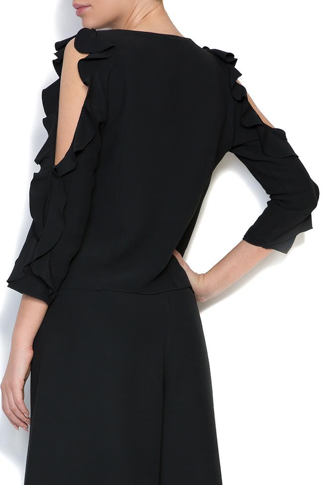 Bluza cu decupaje din crep si aplicatii brodate manual Lena Criveanu imagine 2