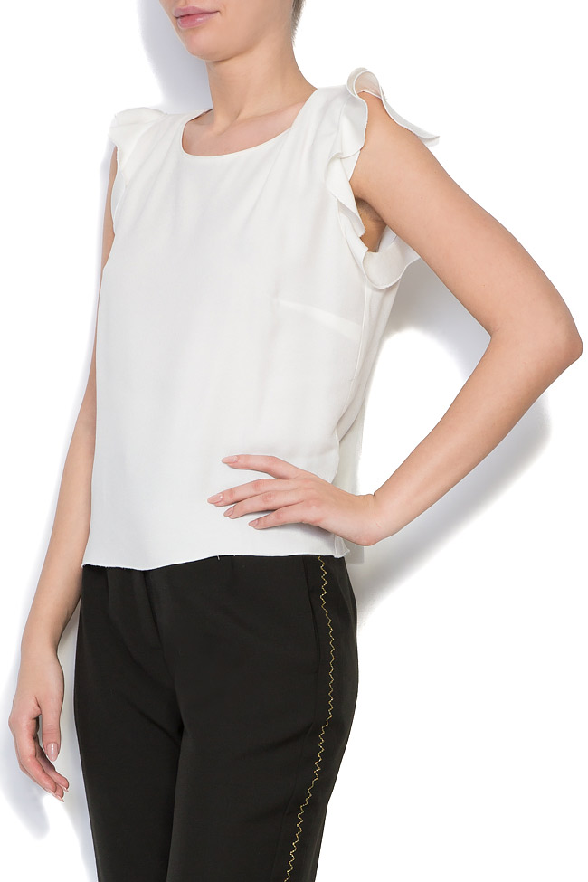 Bluza din crep cu volane Lena Criveanu imagine 1