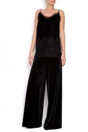 Mirela Diaconu  Lace-trimmed silk-velvet camisole