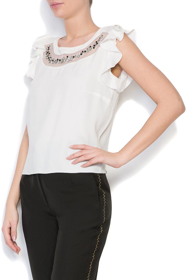 Bluza din crep cu aplicatii din cristale brodate manual Lena Criveanu imagine 1