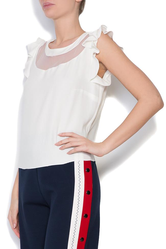 Bluza din crep si insertii din tul Lena Criveanu imagine 1