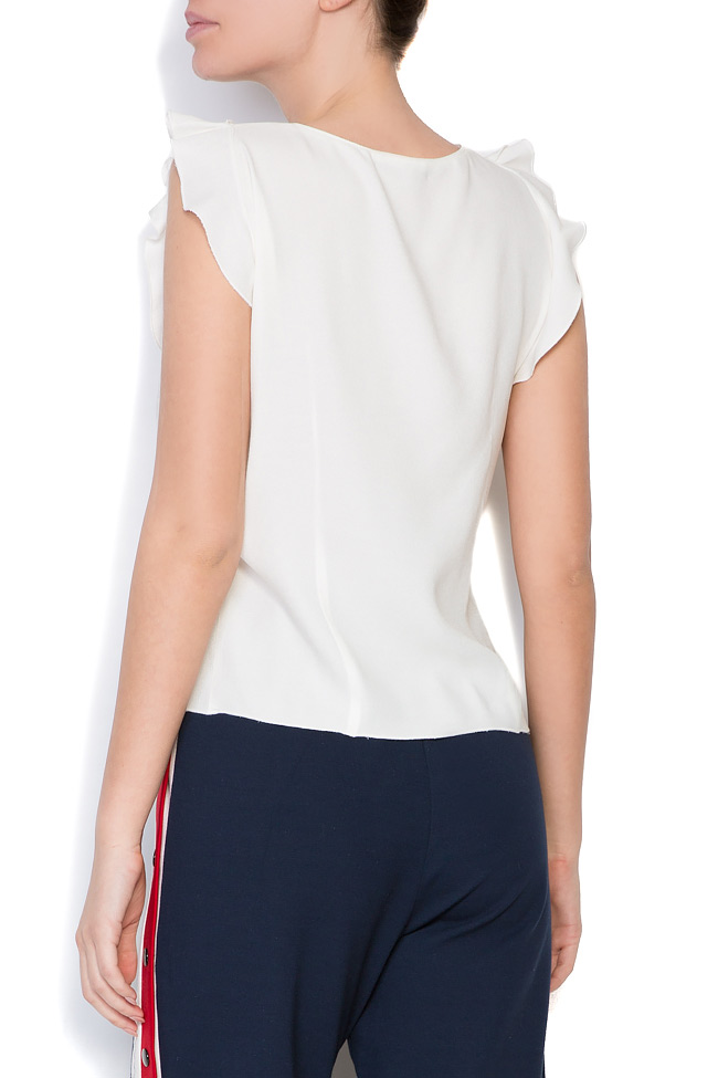 Bluza din crep si insertii din tul Lena Criveanu imagine 2
