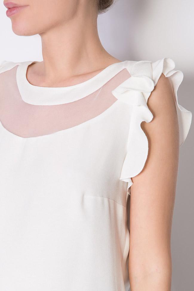 Bluza din crep si insertii din tul Lena Criveanu imagine 3