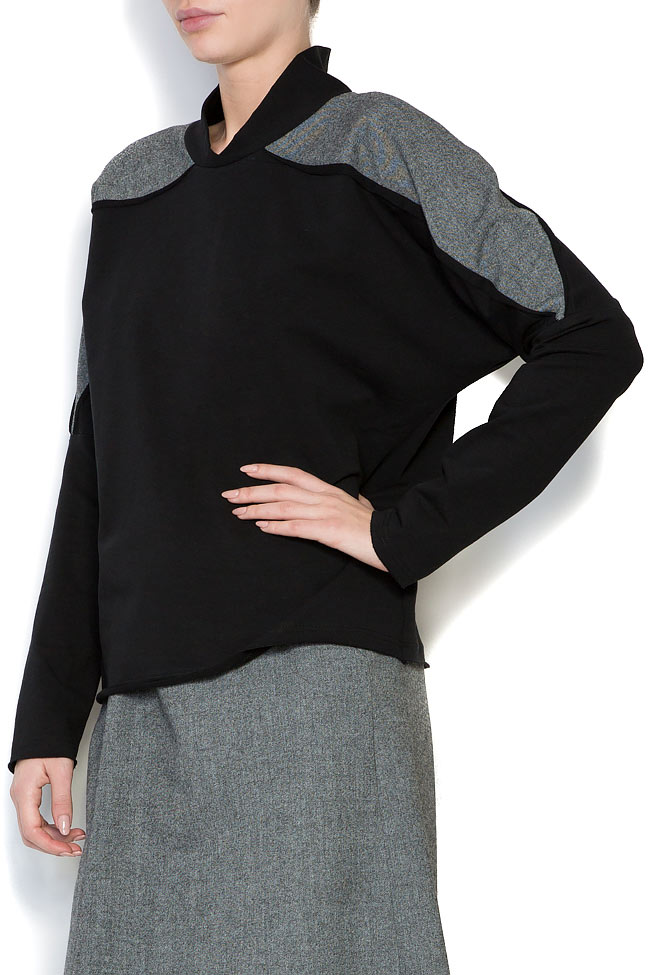 Bluza din jerseu cu insertii din lana Lena Criveanu imagine 1