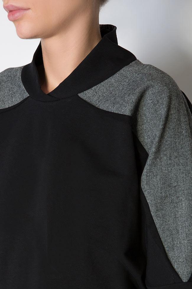 Bluza din jerseu cu insertii din lana Lena Criveanu imagine 3