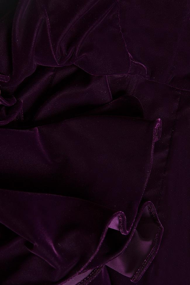 Rochie de catifea din amestec de matase cu umarul gol Nicole Enea imagine 4