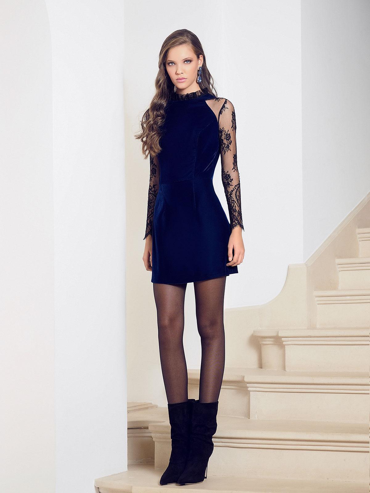 Adrielle Chantilly lace-trimmed silk velvet mini dress M Marquise image 5