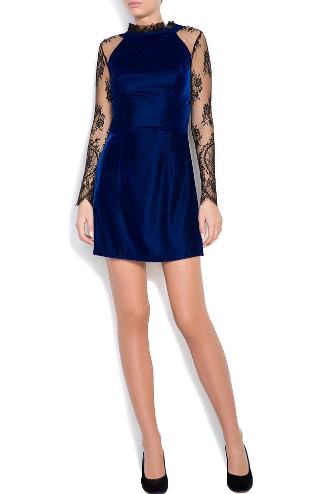 Adrielle Chantilly lace-trimmed silk velvet mini dress M Marquise image 0