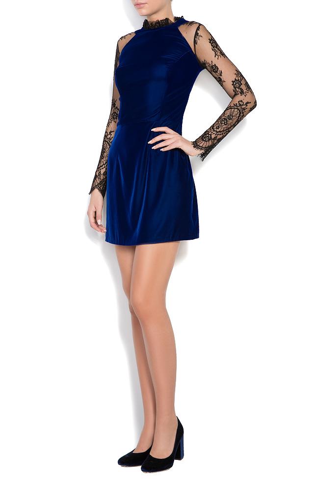 Adrielle Chantilly lace-trimmed silk velvet mini dress M Marquise image 1