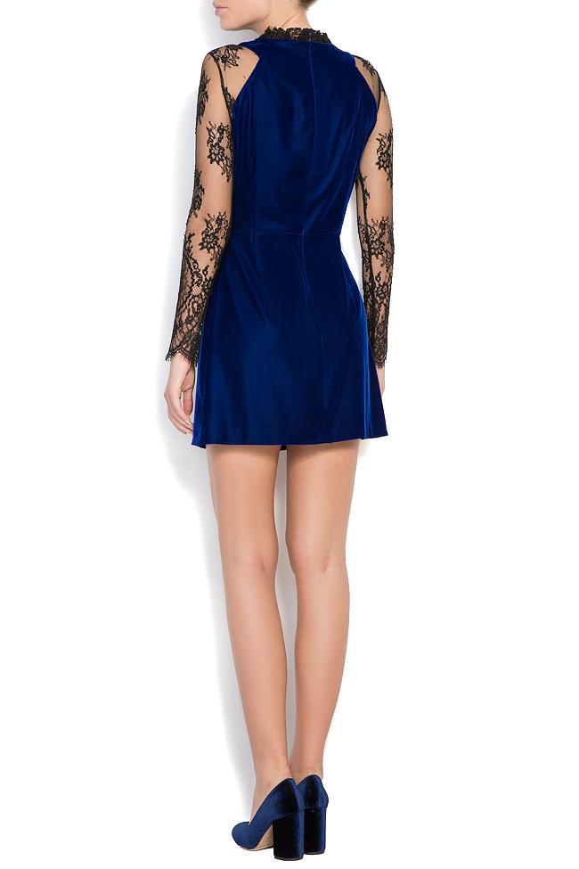 Adrielle Chantilly lace-trimmed silk velvet mini dress M Marquise image 2