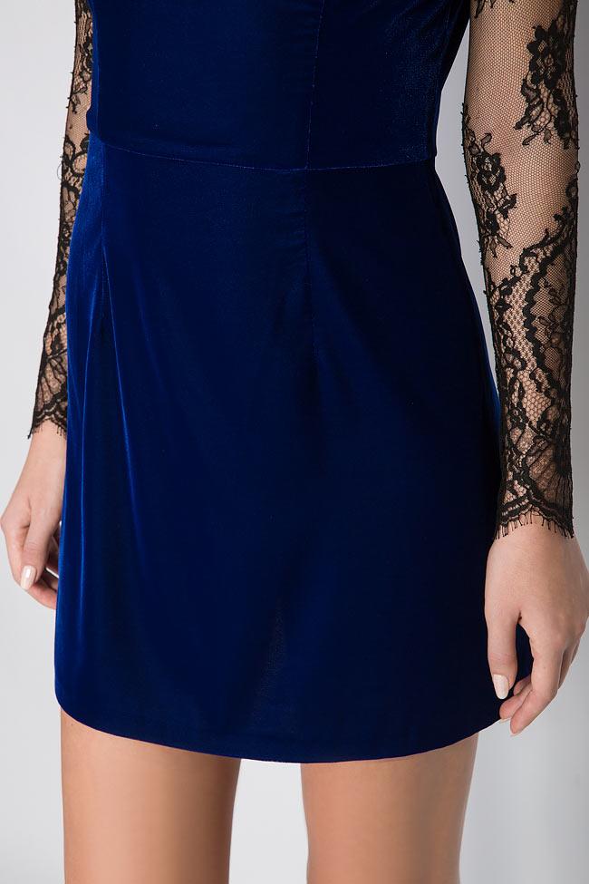 Adrielle Chantilly lace-trimmed silk velvet mini dress M Marquise image 3