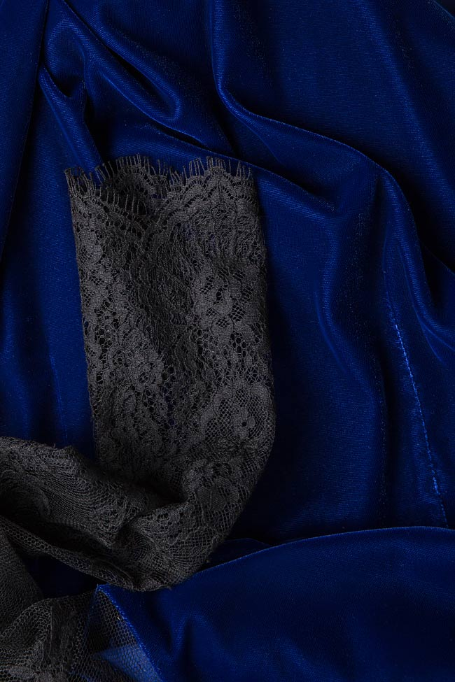 Adrielle Chantilly lace-trimmed silk velvet mini dress M Marquise image 4
