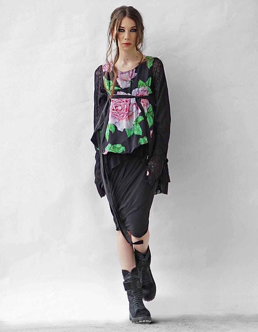 Bluza din amestec de matase Rose Corset Studio Cabal imagine 4
